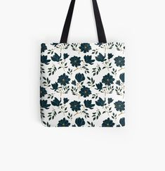 Printed Tote Bags, Cotton Tote Bags, Reusable Tote Bags, Large Bags, Small Bags, Custom Bags, Medium Bags, Flower Prints, Blue Flowers