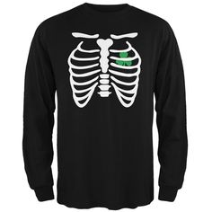 St. Patrick's Day - Shamrock Heart Skeleton Black Adult Long Sleeve T-Shirt