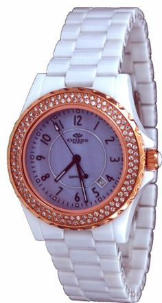 Oniss #ON6200-LRG Women's Mid Size Crystal Accented Blue MOP Dial White Ceramic Watch