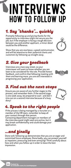 So you've just had an interview. Don't let that good work go to waste - following up is key. Here are some quick tips on how to  leave the best first