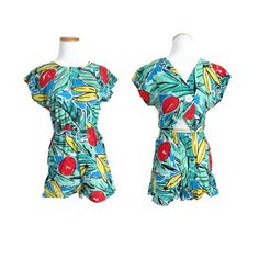 fbe7db67ea9b 80s Romper Fruit Print Bananas Leaf Leaves Summer Womens 1980s Playsuit Cut  Out Back Rayon Onesie Size Small Medium Hipster Indie