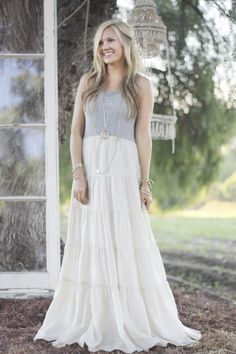 Ruffle Maxi Dress - One By Chelsea Flower, Pumps by Classiques Entier, Necklace by Gorjana.