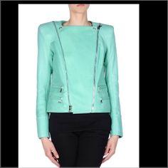 Balmain green leather jacket No trades size 38 Balmain Jackets & Coats
