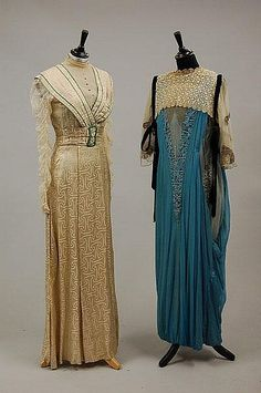 Day dress and evening gown, 1910-1915