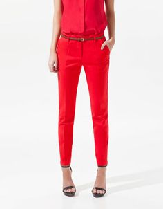 TROUSERS WITH TURN-UP HEM - Trousers - Woman - ZARA United States