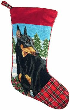 New Doberman Pinscher Dog Christmas Needlepoint Stocking Tartan Plaid | eBay