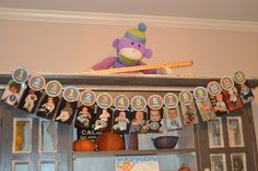 Birthday display for one year old party Sock monkey display