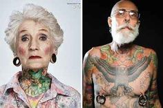 "24 Tattooed Seniors Answer The Question: ""What Will It Look Like In 40 Years?"" spolier: it looks effing awesome. // holy shit old people with tattoos and peircings is like my new favourite thing"