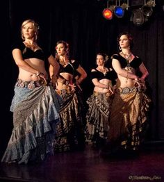 Scarlet Thistle - love their dancing and this costume. Drop sleeve choli + blockprint skirt.