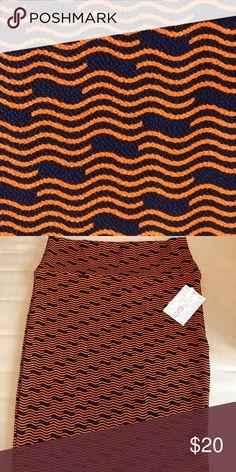Small LuLaRoe Cassie, new Navy background with orange pattern, new, never worn. LuLaRoe Skirts Pencil