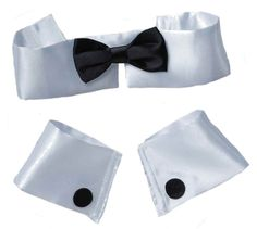 COLLAR BOW TIE CUFF SET Costume Male Stripper Chippendale Playboy Bunny Black #Accessory