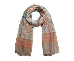 STYLISH BROWN CREAM ORANGE AQAU ABSTRACT LADIES SCARF WRAP PASHMINA
