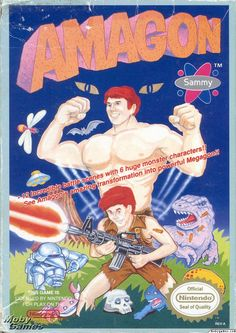 Amagon – What is going on in this game? It is a side-scrolling platformer with an Incredible Hulk vibe … You turn into a big body builder when you get enough points or something, problem is: it's much better to NOT be the hulk and use the gun.