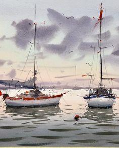 Watercolor Art Landscape, Watercolor Water, Watercolor Drawing, Landscape Art, Watercolor Paintings, Japanese Garden Landscape, Sailboat Painting, Boat Art, Watercolor Pictures