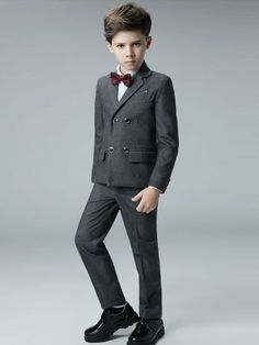 Solid Coat&Pant&Vest&Shirt&Cravat Boy Suit Sets