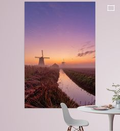 Kleurrijke zonsopkomst bij de Schermer molens Airplane View, Polaroid Film, Canvas, Tela, Canvases