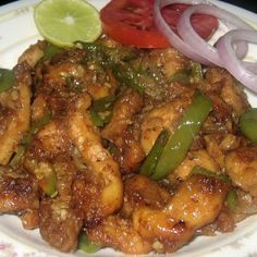 Here is yet another hot chicken favorite of My Dhaba - the chilly chicken. Chicken being the common meat we have at home, we learned that ki. Indian Chicken Dishes, Indian Chicken Recipes, Indian Dishes, Veg Recipes, Curry Recipes, Indian Food Recipes, Asian Recipes, Cooking Recipes, Indian Foods