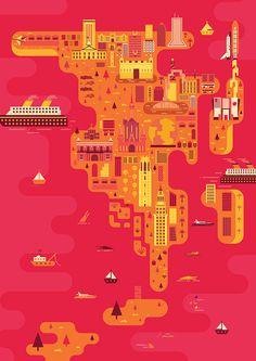 Travel Magazine Illustrations   Florida 2014 on Behance