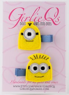 Despicable+Me+Minions+Felt+Hair+Clip+Clippie+2pack+by+GirlieQs,+$6.00