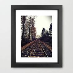 Grandpa (Neil's dad) was a railroad man.  Thought this would be cool to have. Autumn Train Tracks Framed Art Print   dotandbo.com