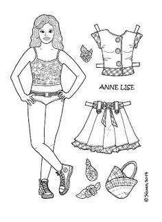 Karen`s Paper Dolls: Anne Lise 1-5 Paper Doll to Print and Colour. Anne Lise 1-5…