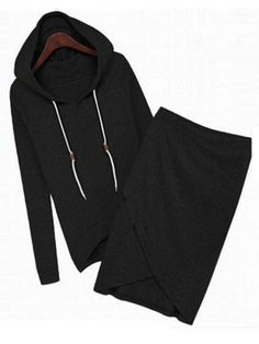 Sheng Xi Women's Drawstring Solid Hoodie Casual Skirt Sweatshirt Black L Pullover Hoodie, Hoodie Sweatshirts, Sweatshirt Dress, Sweater Hoodie, Long Sleeve Sweater, Costume Noir, Activewear Sets, Black M, Sports Hoodies