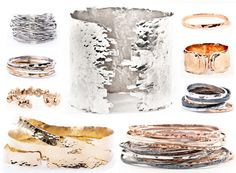 Tiffany Kunz's collection of hammered and hand forged bracelets and rings