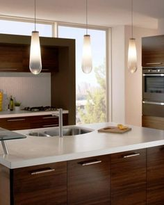 Kitchen Island Eglo Musero LED Smoked Glass Triple Bar - Led pendant lights for kitchen island