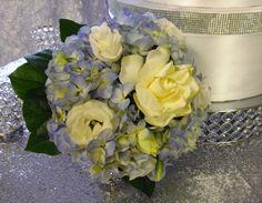 blue hydrangea, white lisianthus and gardenia