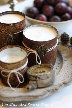 DIY candles in rustic cans