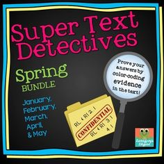 Text Detectives- Find the Text Evidence Spring BUNDLE! (January- May) The ORIGINAL Text Detectives for Color-Coded Comprehension and Text Evidence! :) This bundle includes 84 Text Detectives passages for January through May! Close Reading, Guided Reading, Teaching Reading, Comprehension Questions, Reading Comprehension, Text Based Evidence, Short Passage, Balanced Literacy, Reading Intervention