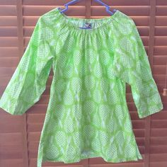 Lime green pineapple blouse Light weight, lime green with white pineapples scoop neck top Harley and the hound boutique Tops Blouses