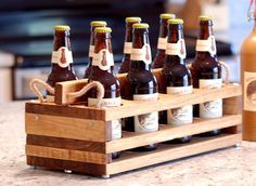 Wood 8Bottle Beer Carrier Homebrew Gift by jupalada on Etsy