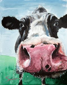 Farm animal art cow art print wildlife painting by SignedSweet, $12.00