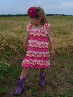 Green and Pink ruffled dresses, Sizes, 6 mo. 1 yr, 2, yr, 3 yr, $15.00 plus $3 shipping