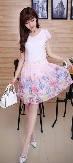 Floral Printed Skirt  with Lace Top -adorable outfit www.adealwithGodbook.com