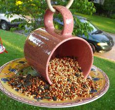 Coffee Mug Birdfeeder - cute!