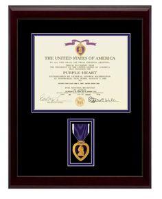 "13-1/2"" x 18"" Purple Heart Frame Display $110.00  (http://www.militarymemoriesandmore.com/purple-heart-certificate-frame/)"