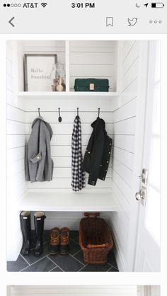 Looking for a tiny mudroom idea? This adorable nook makes the best mudroom space. Simple enough for a DIYer to complete in a couple weekends, this mudroom nook has a bench, coat hooks, and open storage above. Oh, and shiplap walls with herringbone tile Mini Closet, Hall Closet, Entry Closet, Front Closet, Closet Space, Hidden Closet, Decoration Hall, Entryway Decor, Rustic Entryway