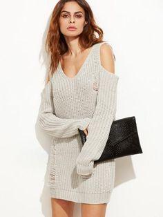 sweater dress, ripped sweater dress, cold shoulder dress, trendy fall dresses - Lyfie