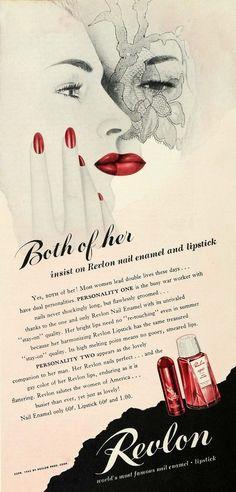 Revlon lipstick & nail polish vintage ad