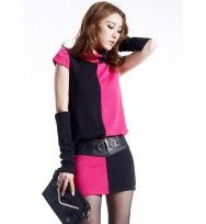 Woman Rose and Black Color Matching Shift Dress