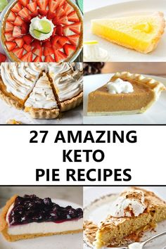 27 Delicious Keto Pies and Pie Crust Recipes My favorite keto pies and low-carb pie crust recipes for every occasion. Thanksgiving and Christmas keto dessert ideas, including low-carb fruit pies, cream pies, keto chocolate pies, and more! Keto Friendly Desserts, Low Carb Desserts, Low Carb Recipes, Healthy Desserts, Fruit Recipes, Snack Recipes, Dessert Recipes, Dessert Ideas, Cookie Recipes