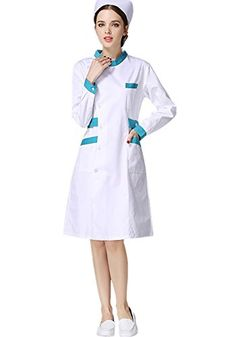 XinAndy Womens White Scrubs Slanting front Lab Coat Long sleeves *** Check this awesome product by going to the link at the image. (This is an affiliate link and I receive a commission for the sales) White Scrubs, Nursing Wear, Maternity Jeans, Robot, Lab, Image Link, Note, Amazon, Long Sleeve