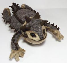 Horned Lizard soft plush toy aka Horny Toad by FluffEngine on Etsy