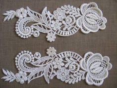 Venice lace applique white floral venise lace with crystal