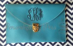 So in love with this blue clutch I can't even handle it!  Monogrammed Envelope Clutch  Multiple by PersonalizedbyPriss, $25.00