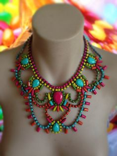 SALE 20 off SUMMERTIME painted rhinestone by MimmiAndKinki on Etsy, $110.00