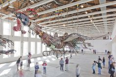 Xu Bing Arrives at Mass MoCA With His 12 Ton Birds Made of Construction Equipment