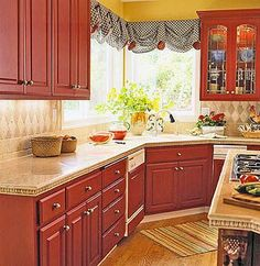 Modern Furniture: Red Kitchen Decorating Ideas. Graphite Counters And Dark  Wood Floors Would Be